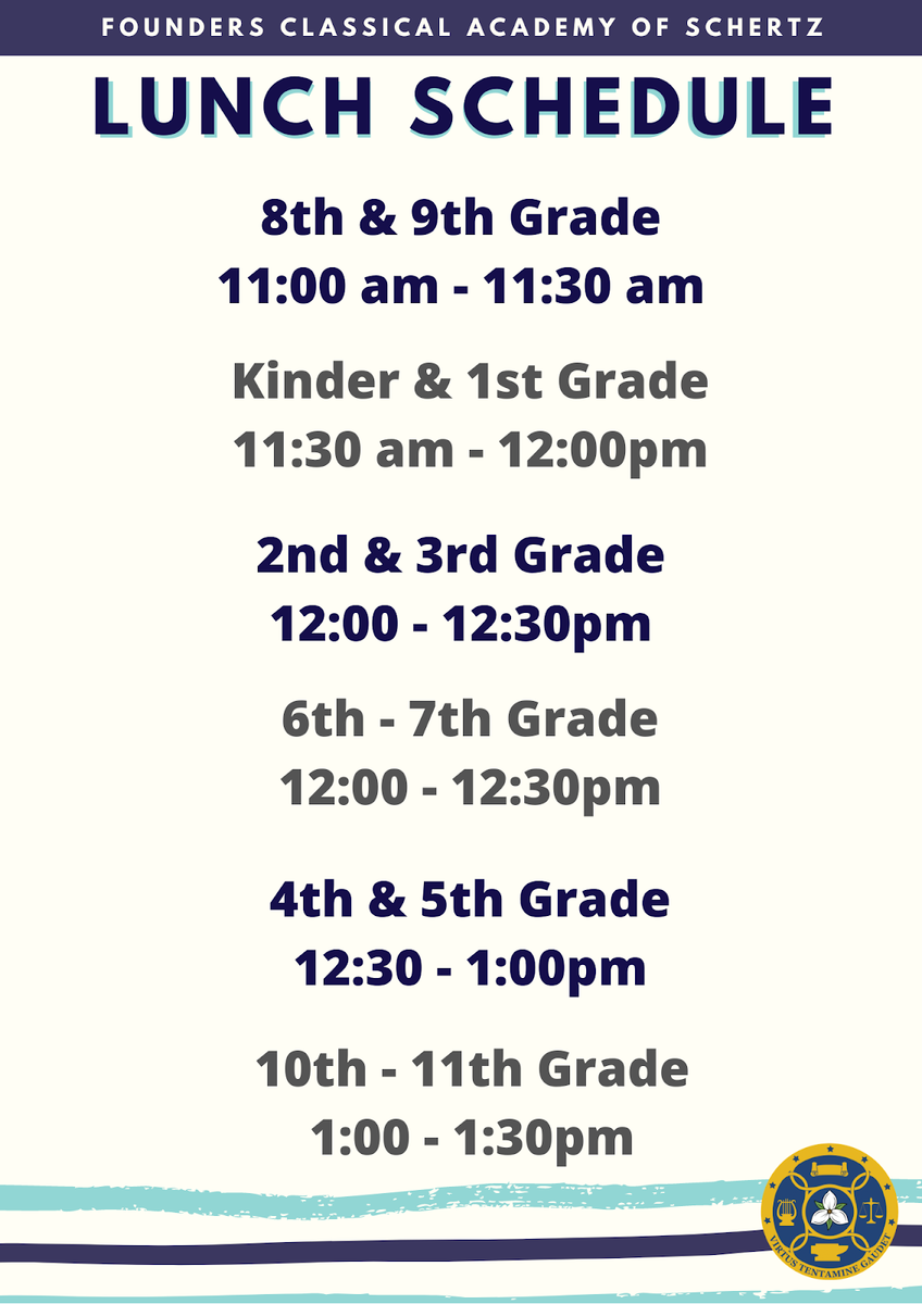 FCAS Lunch Schedule