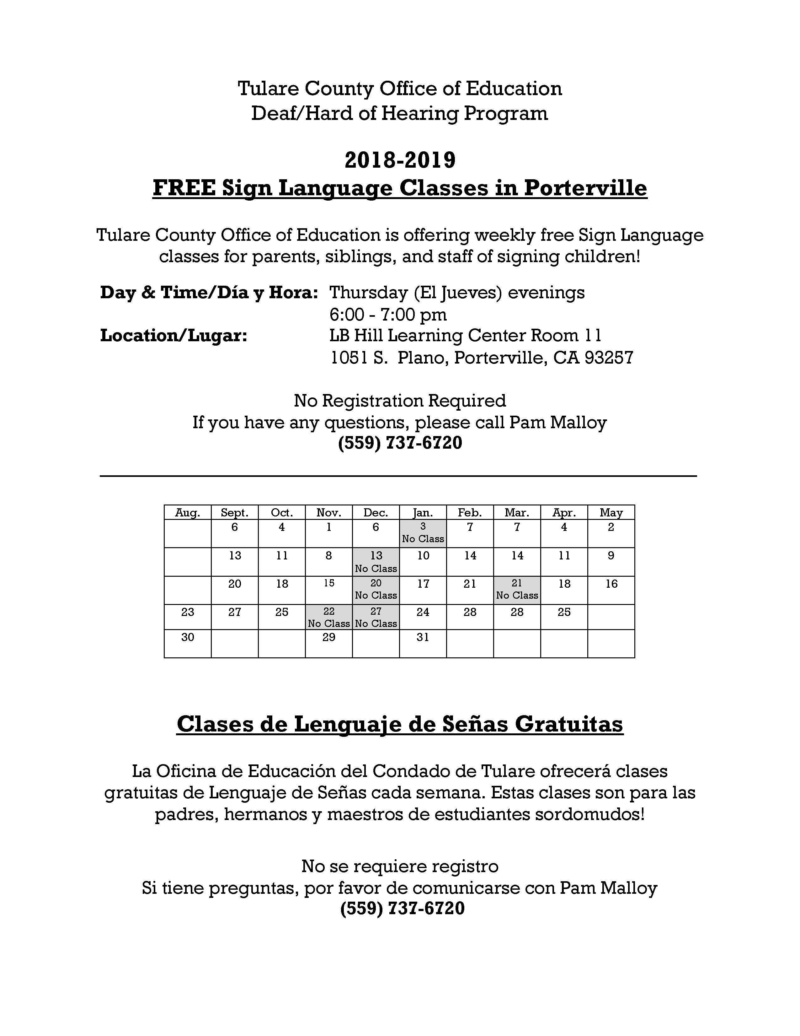 Porterville Sign Language classes