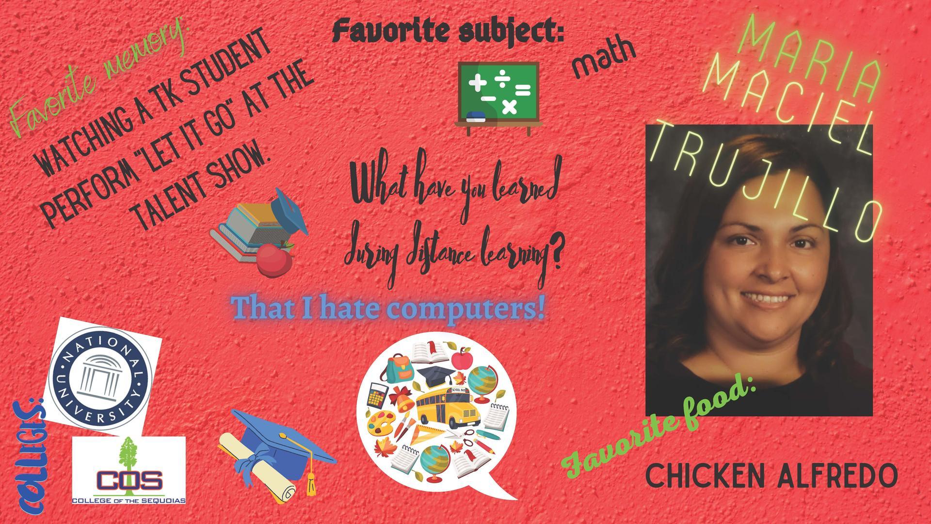 Maria Maciel staff member of the week 12/7-12/11/20