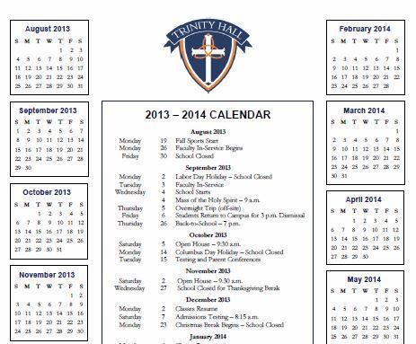 Trinity Hall School Calendar 2013-2014