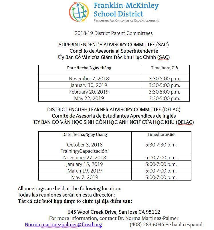 DELAC & SAC meeting schedule 2018-2019