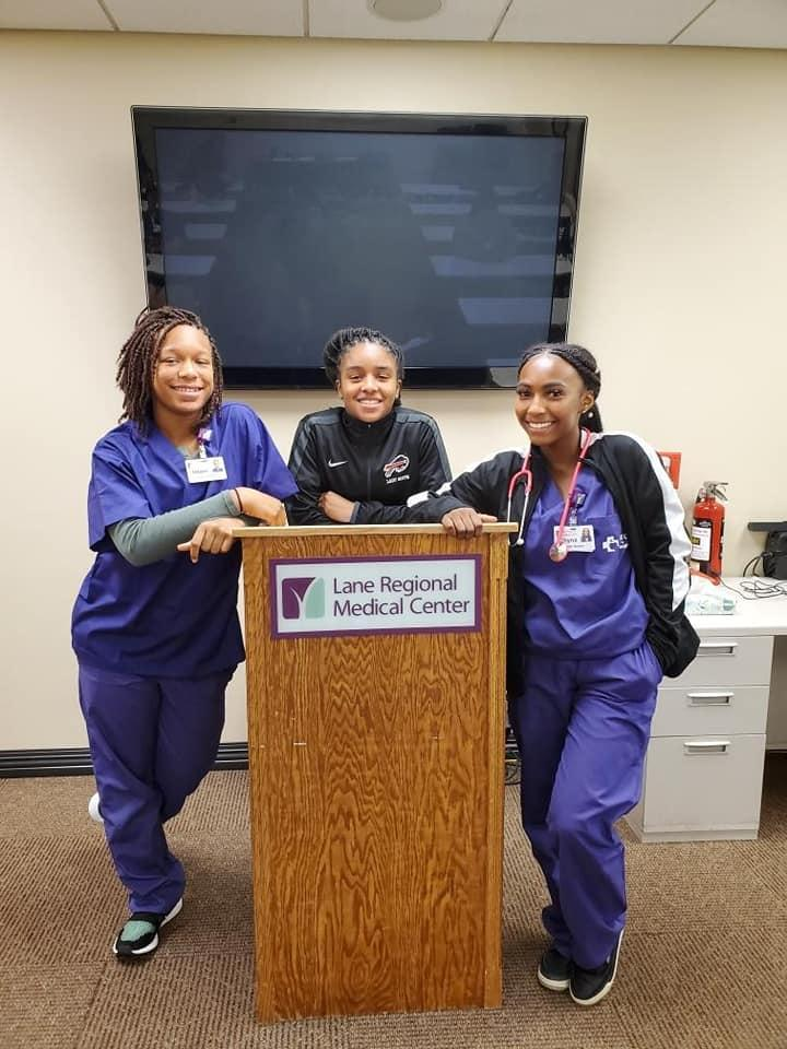 a photo of highlights from the Baker High students participation in the AHEC of a summer 2019 at Lane Regional Medical Center