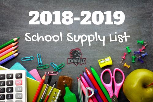 School Supply Lists 2018-2019