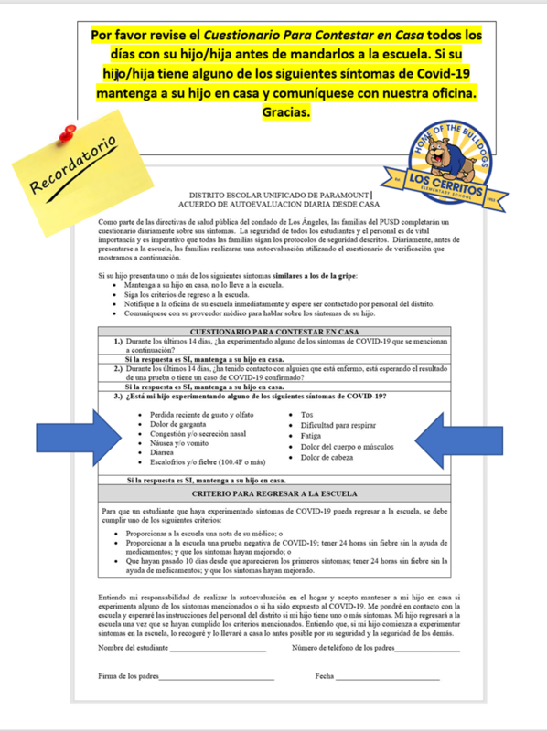 Parent Reminder Daily Self-Assessment Spanish.png
