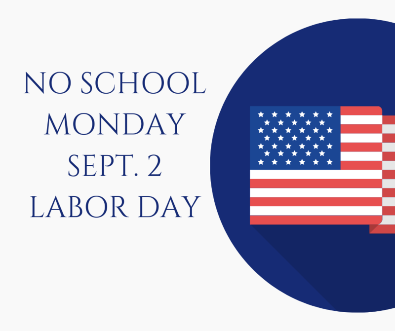 Graphic with Labor Day closed message