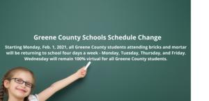 GCS Schedule Change Starting Monday, Feb. 1, 2021