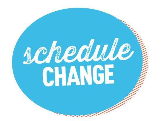 Blue oval with white letters saying schedule change