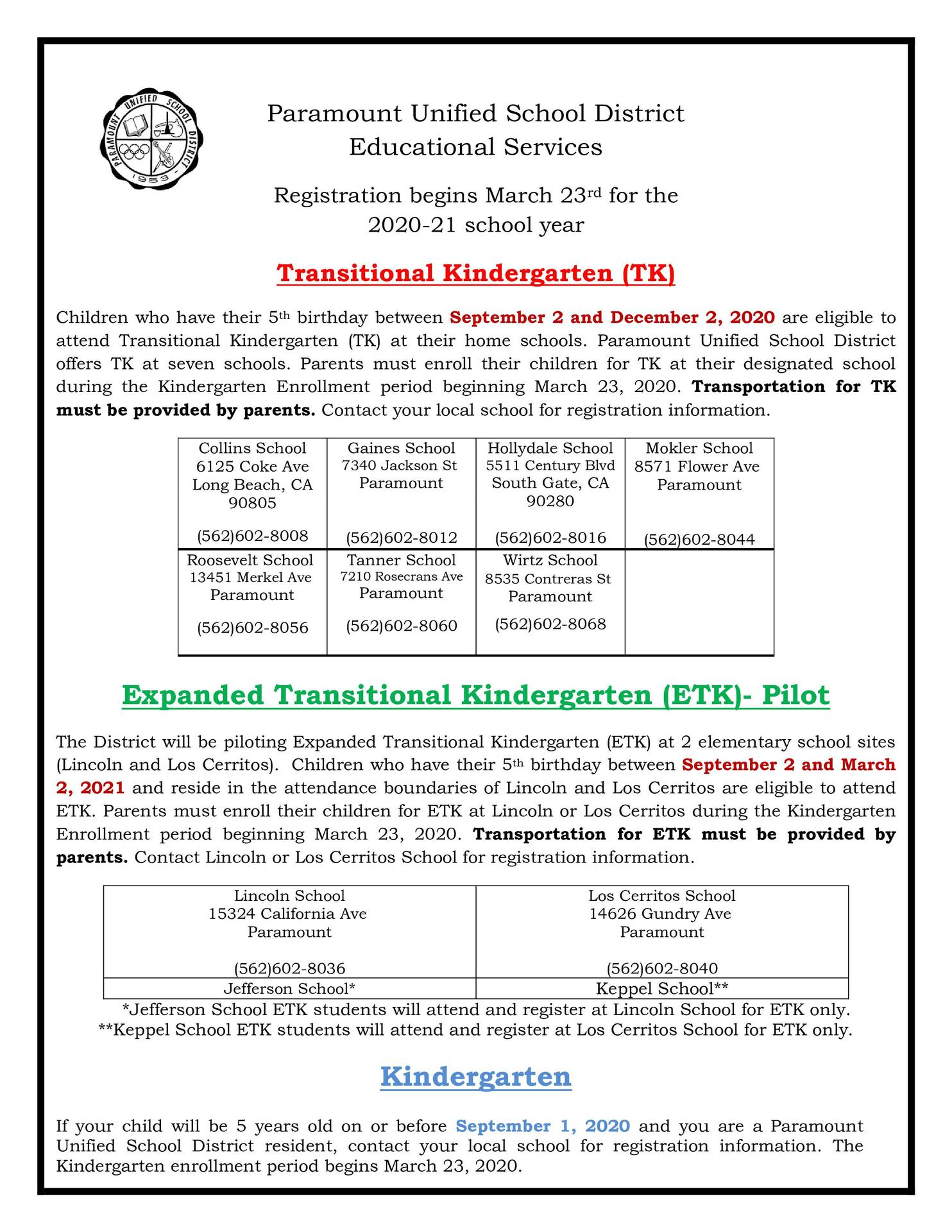 TK-K Registration Flyer