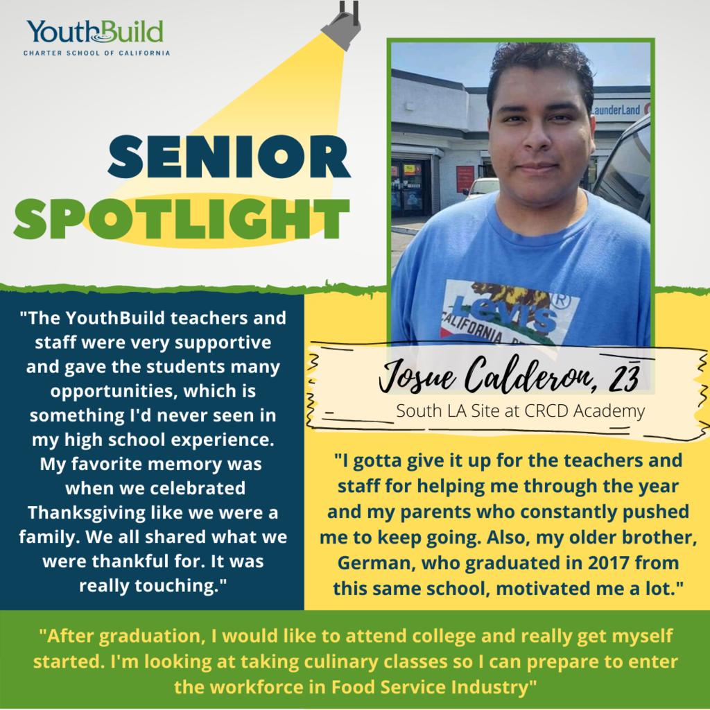 Senior Spotlight for graduate Josue Calderon