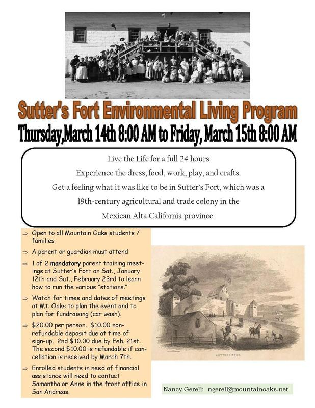 Sutter's Fort Flyer