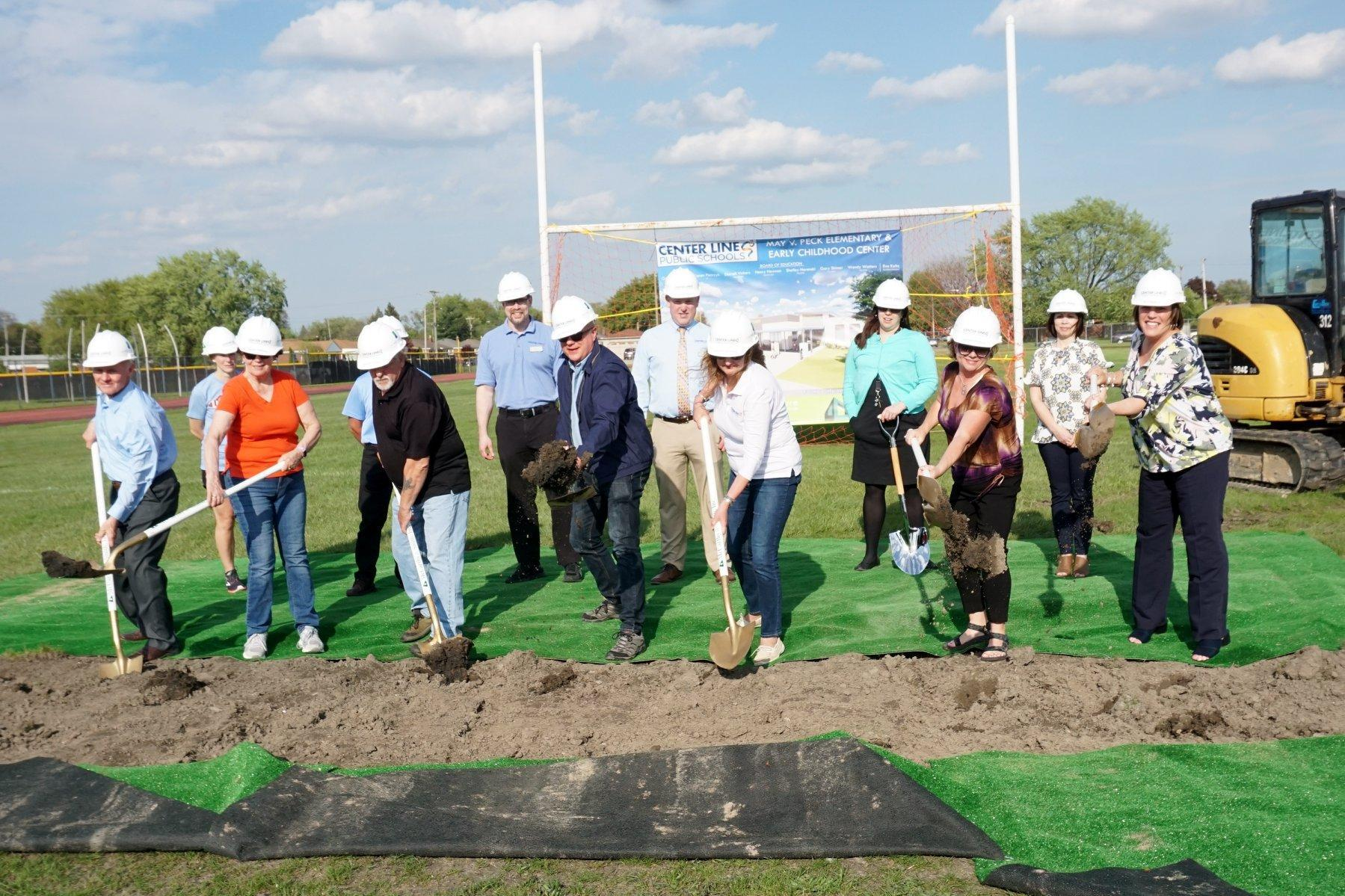 Board of Education and Superintendent Kaltz digging in at Peck Groundbreaking ceremony