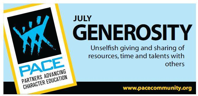 PACE Character Trait for July is Generosity. Thumbnail Image