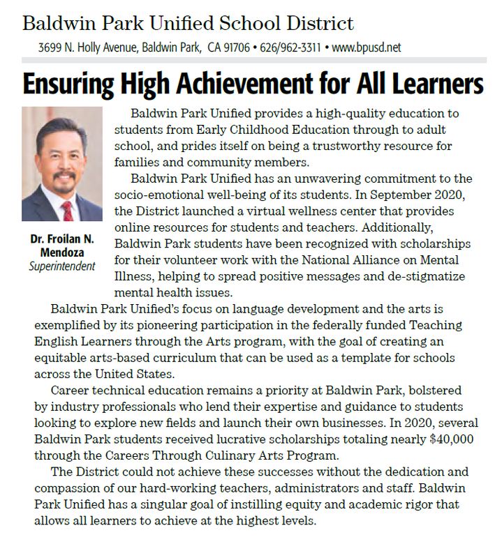 Baldwin Park Unified was highlighted in the 2021-22 Los Angeles County School News Roll Call.