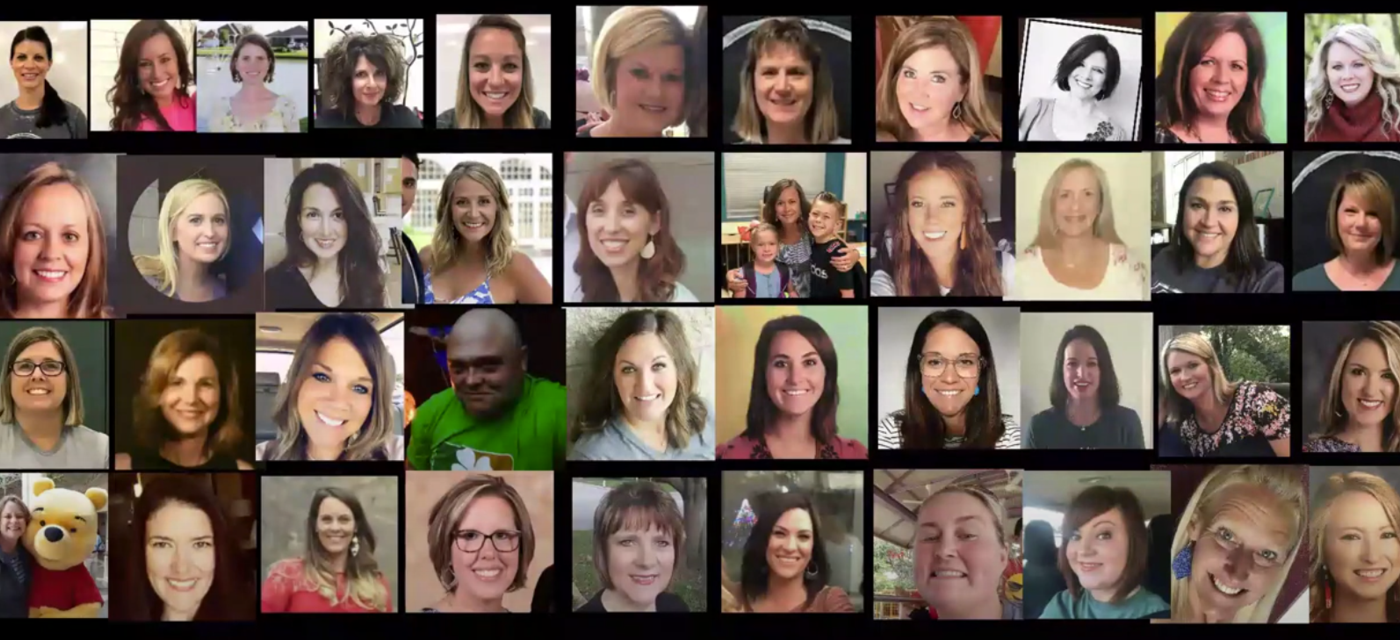 teacher in a zoom meeting with a collage of pictures