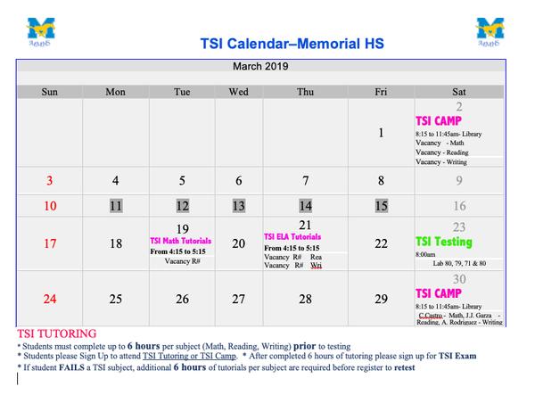 March TSI Calendar