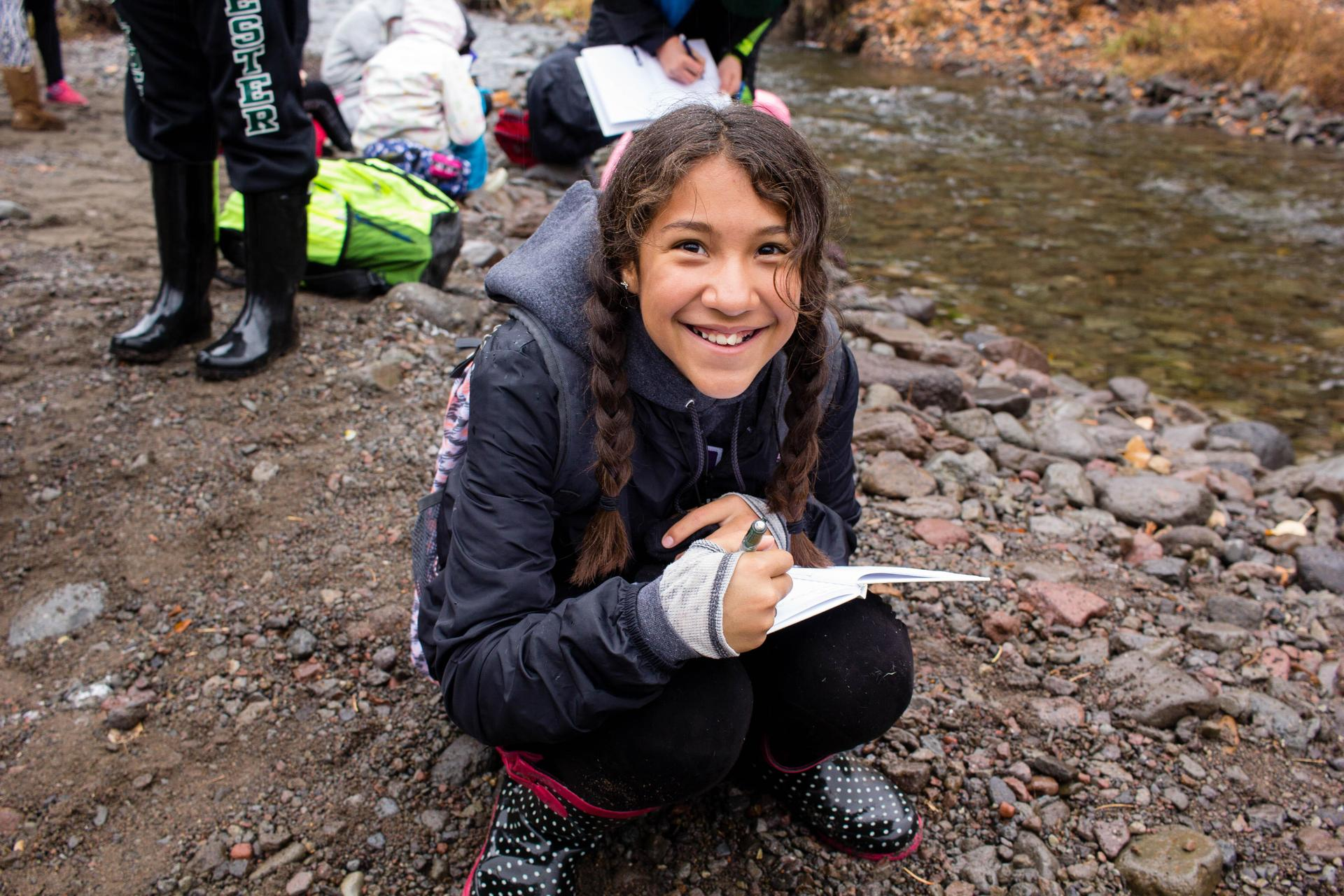 6th grader on watershed fieldtrip