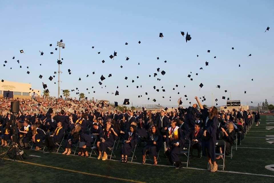 Hats being thrown at graduation