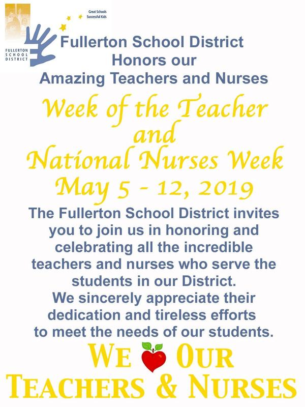 Teacher and Nurse appreciation week