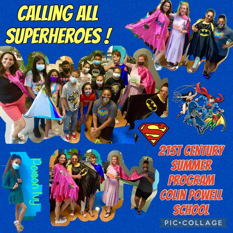 Students in superhero costumes collage