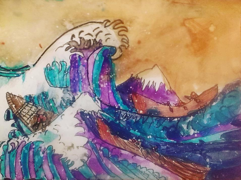 "A second grader's rendition of the famous Japanese print, Hokusai's ""Great Wave"""