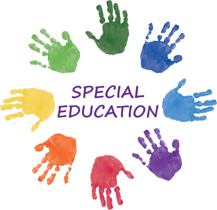 Multicolored hand prints encircling the words Special education.