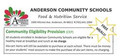 Food Service Department announcement about free meals for all students