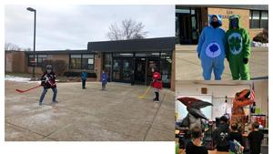 Hockey players, dancing dinosaurs, and the Care Bears were all greeters this year at Lee.