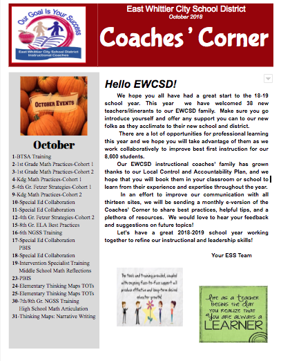 Coaches' Corner Newsletter