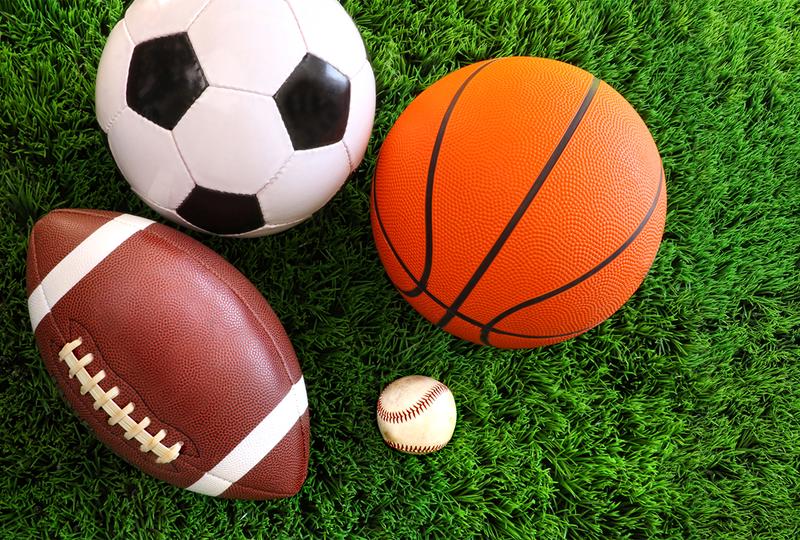 Soccer ball, football, baseball, basketball
