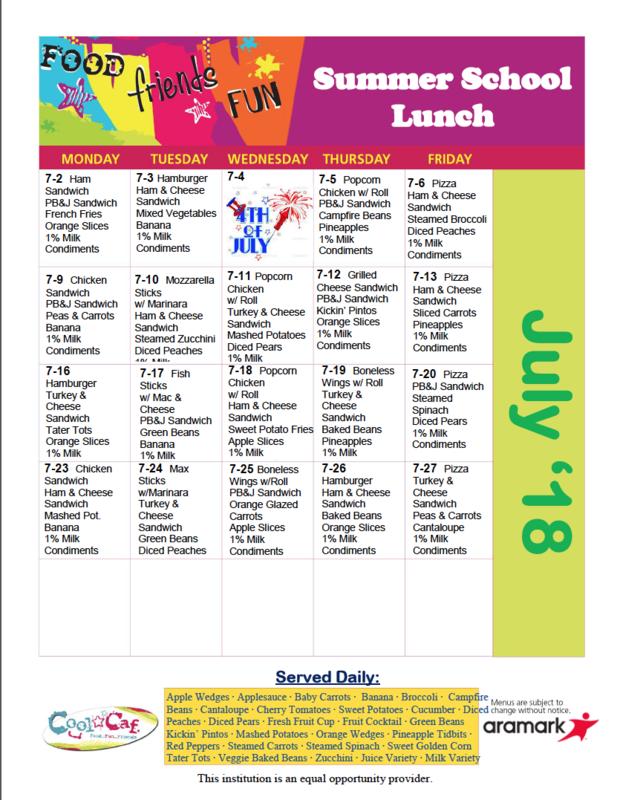 July Lunch Menu Thumbnail Image