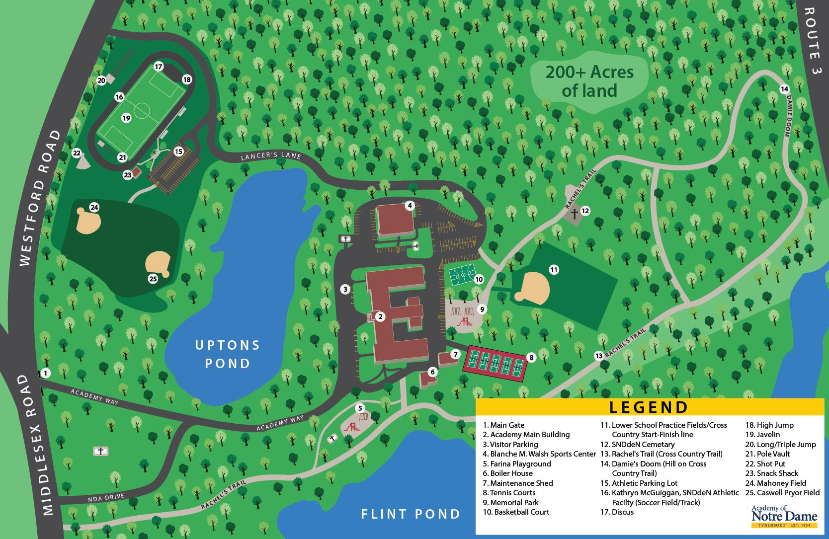 Inset map of campus