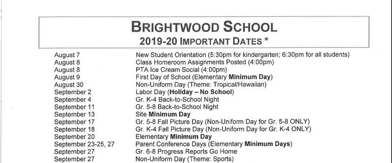 Brightwood School Important Dates 2019-20 Featured Photo