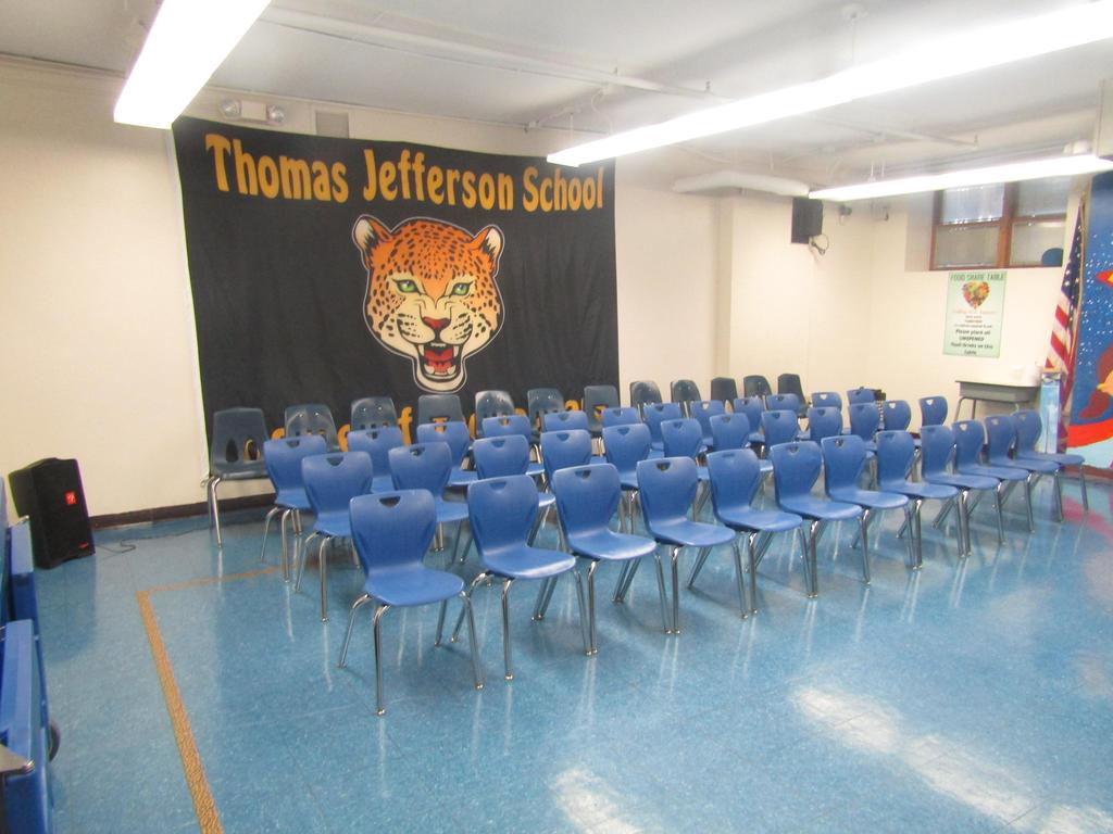 empty chairs ready for honor roll assembly