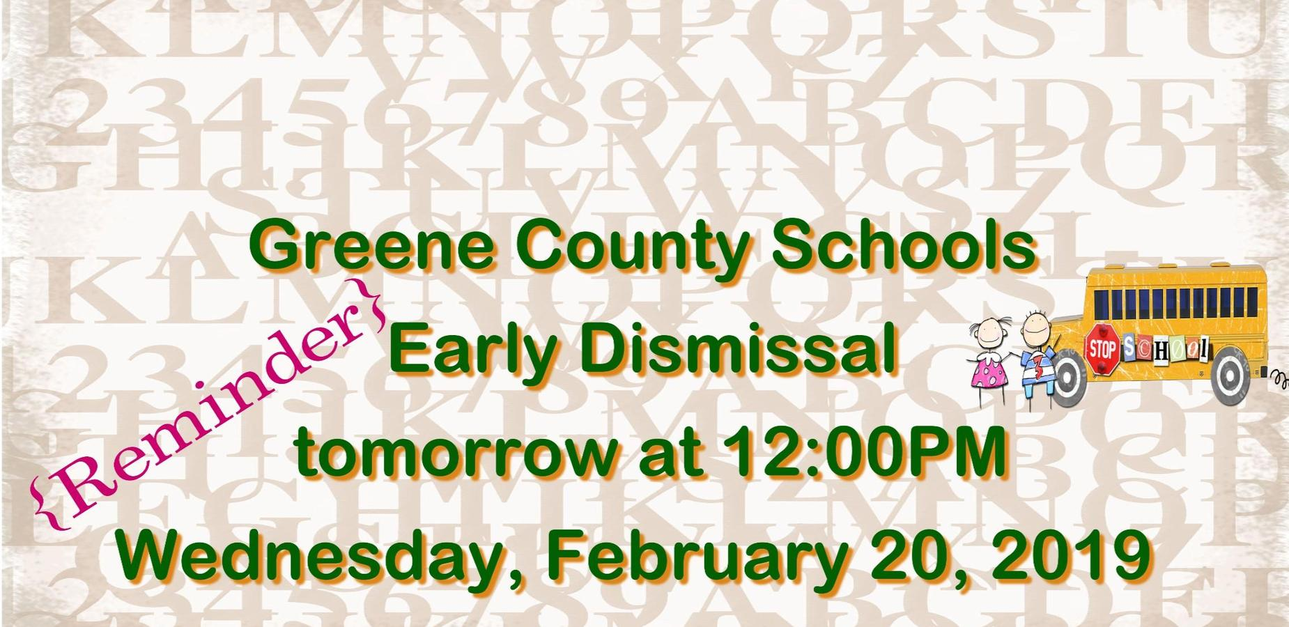 Early Dismissal Day 2/20/19