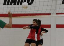MWJH lady ram during a volleyball game returning a hit.