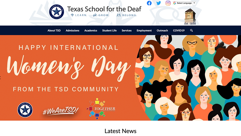 website for Texas School for the Deaf
