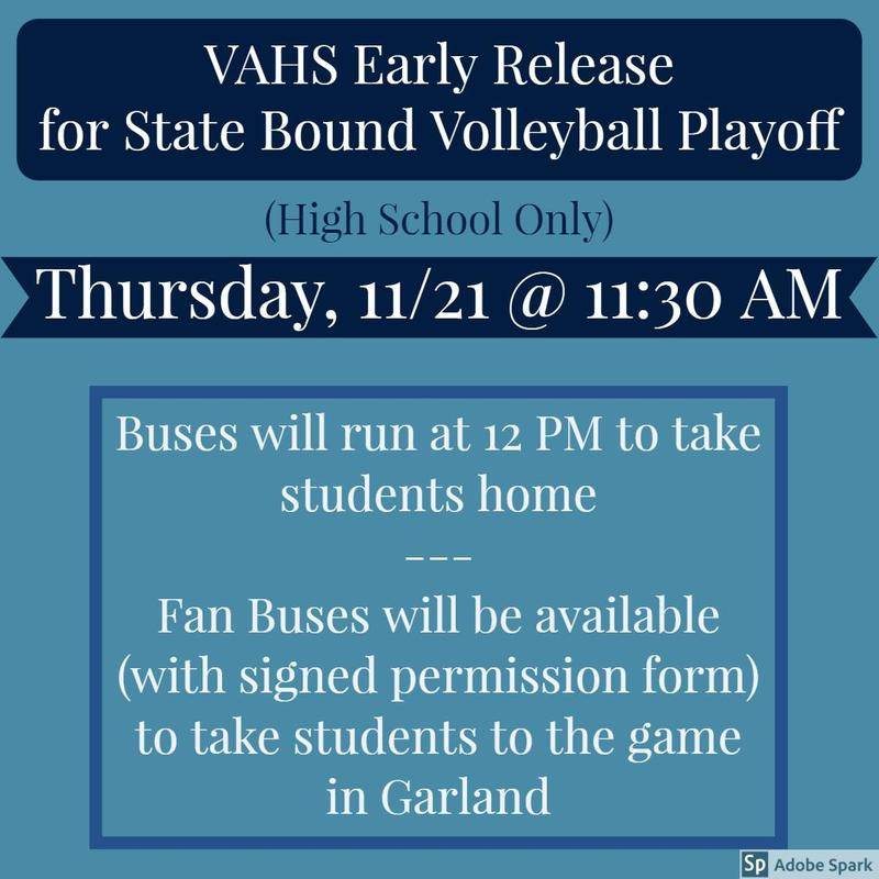 High School Only- Early Release: Thursday 11/21 Thumbnail Image