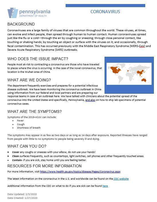 Screenshop of PA Dept. of Health Coronavirus Fact Sheet
