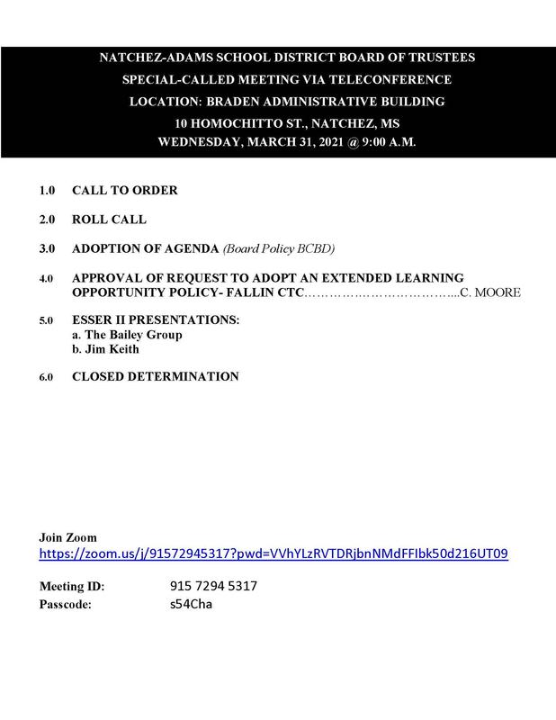 NASD Special Called Meeting Agenda