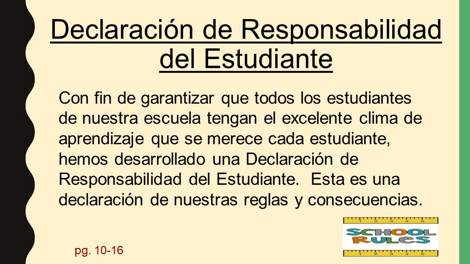 Statement of Student Responsibility power point slide (Spanish)