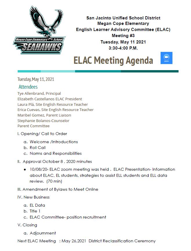 5/11/21 ELAC Meeting Agenda
