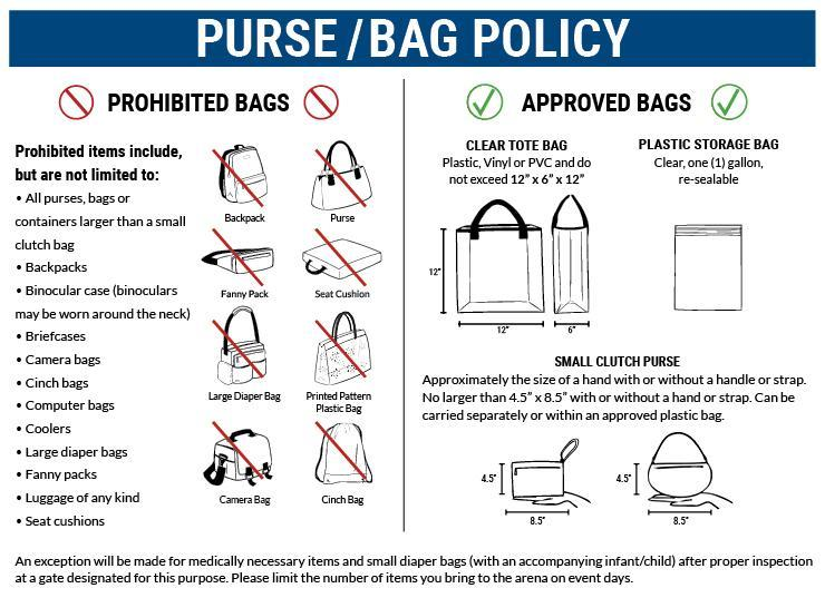 Clear Bag policy, prohibited bags, approved bags, only 12x6x12 clear bags or plastic gallon size bags