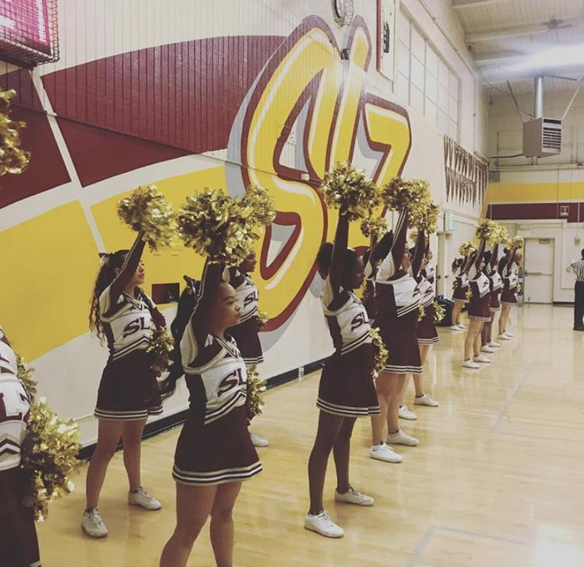 SLZHS Spirit Squad cheering in gym