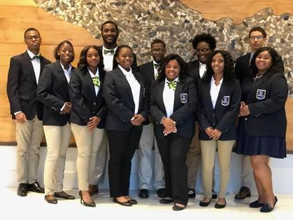A photo of Baker High School Students at the Louisiana DECA Club Conference