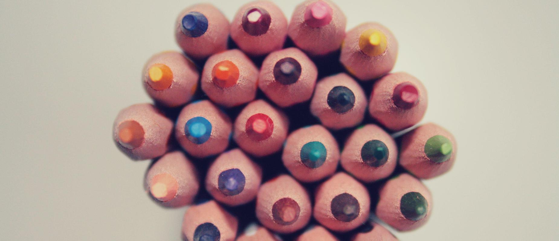 Colored pencils, showing sharpened end.
