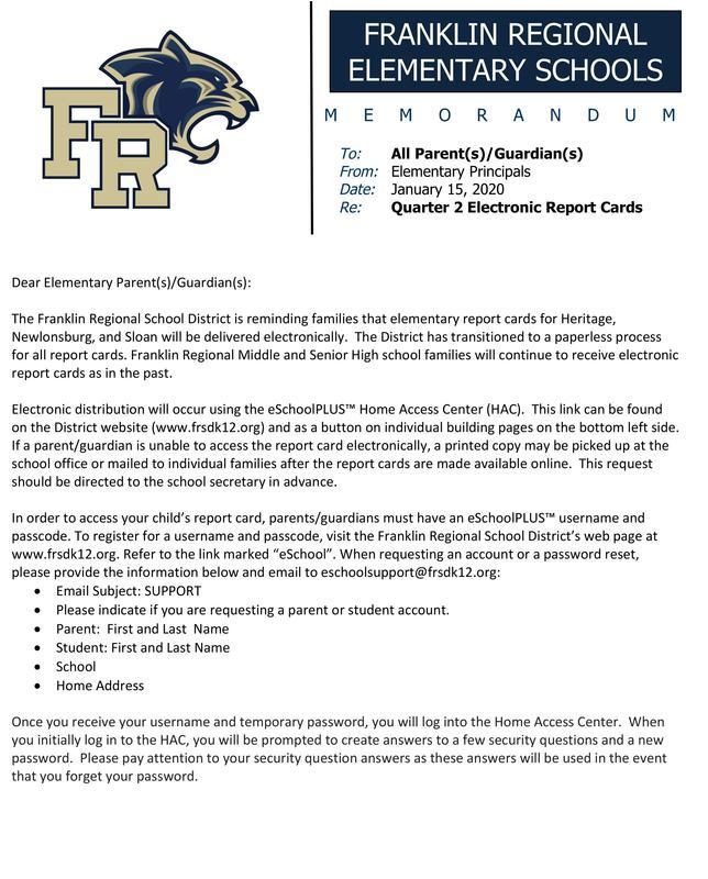 Elementary Report Card Letter Quarter 2