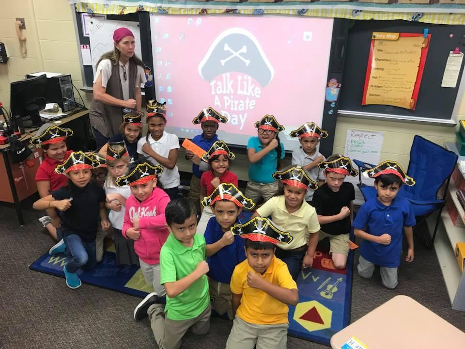 2nd grade class in pirate outfits