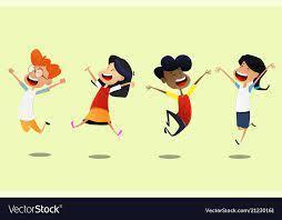 cartoon students jumping