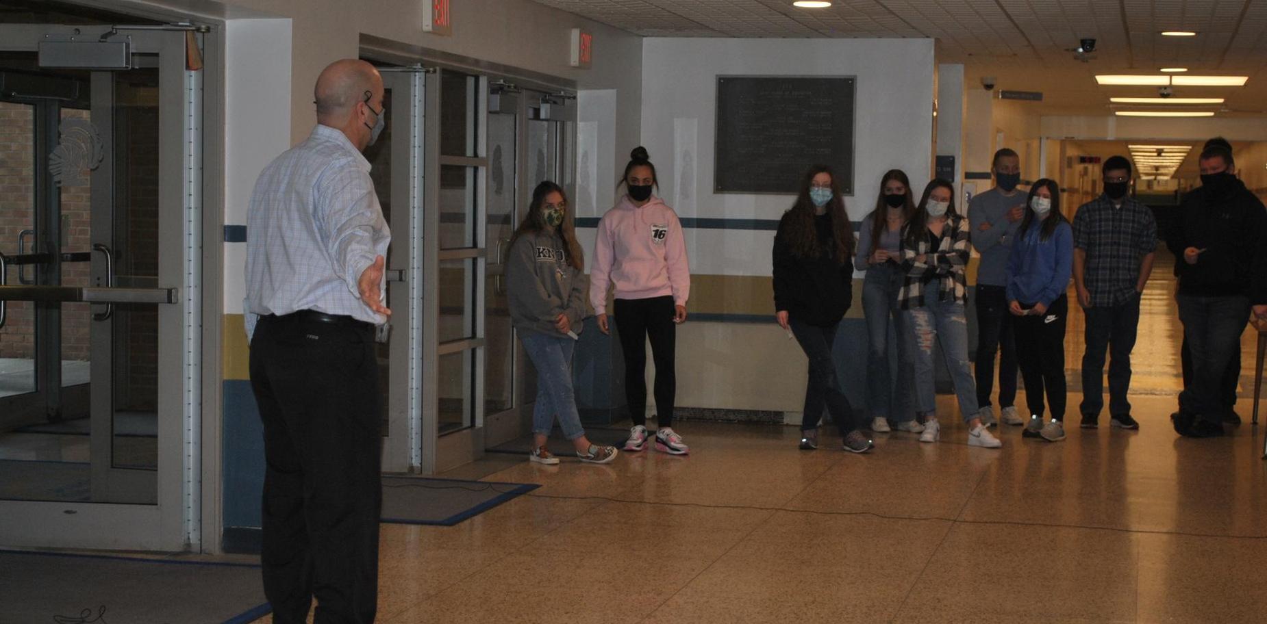 class activity in hallway