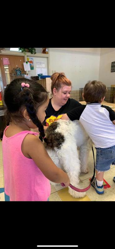 Two kids and a teacher petting Hazel the therapy dog in their classroom.